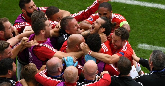 Gareth Bale celebrates Wales v Slovakia