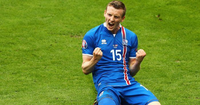 Johann Gudmundsson: Celebrates Iceland's opener