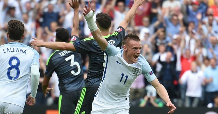 Jamie Vardy celebrates England v Wales
