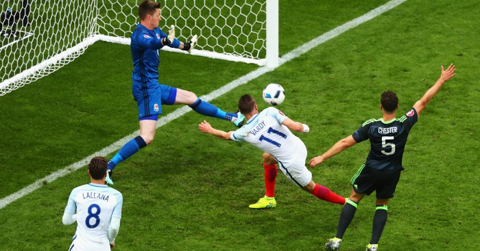 Jamie Vardy scores England v Wales