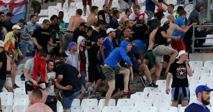 Russia fans: Seen to break through and attack England fans at FT