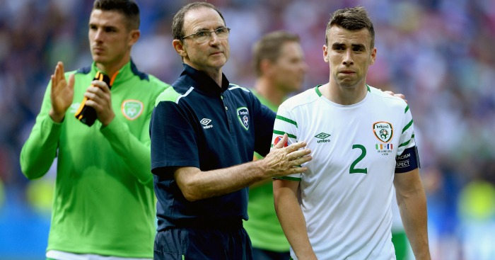 Seamus Coleman: Defender consoled by Martin O'Neill