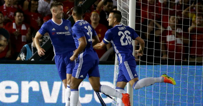 Gary Cahill: Celebrates his winner