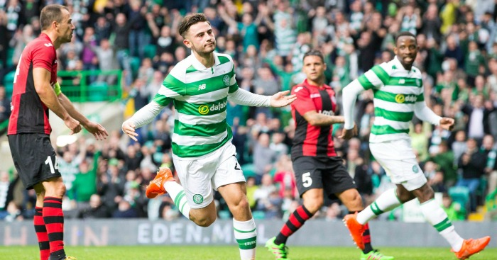 Patrick Roberts: Celebrates his goal for Celtic