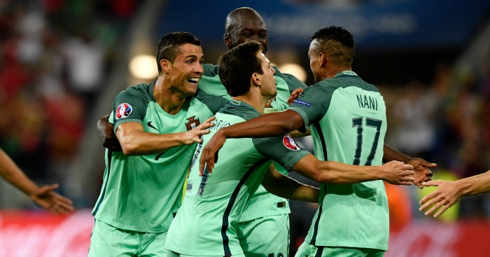 Nani: Celebrates Portugal's second against Wales