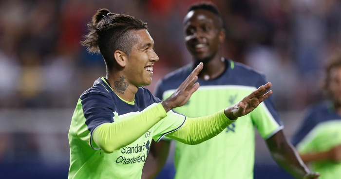 Roberto Firmino: Celebrates Liverpool's second