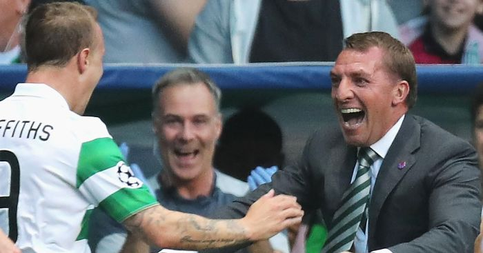Brendan Rodgers: Celebrates with Leigh Griffiths