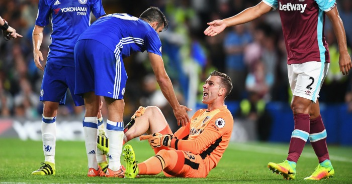 Adrian: Goalkeeper unhappy with Costa's challenge