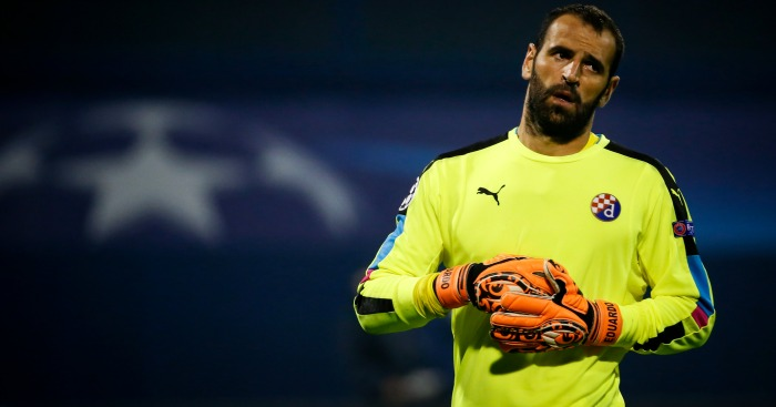 Eduardo: Goalkeeper in action for Dinamo Zagreb