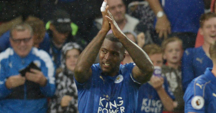 Wes Morgan: Celebrates winner against Swansea