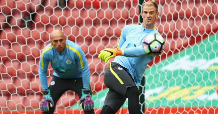 Joe Hart: Warms up at Stoke