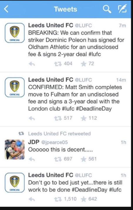 Leeds United Deadline Day
