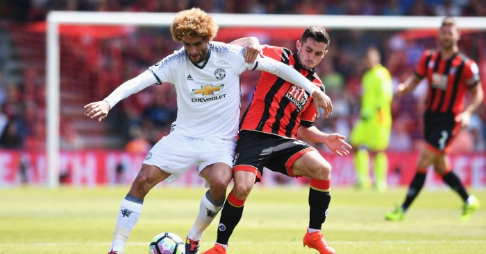 Marouane Fellaini: Midfielder battles against Bournemouth