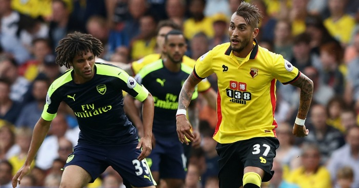 Mohamed Elneny, Roberto Pereyra: In action on Saturday