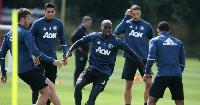 Paul Pogba: Midfielder in Manchester Untied training