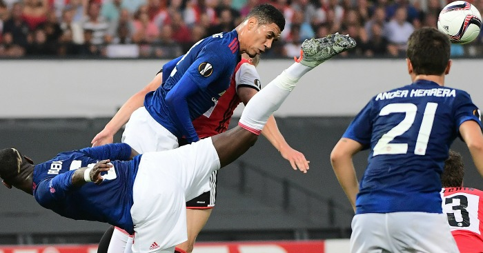 Chris Smalling: In action for United in Rotterdam