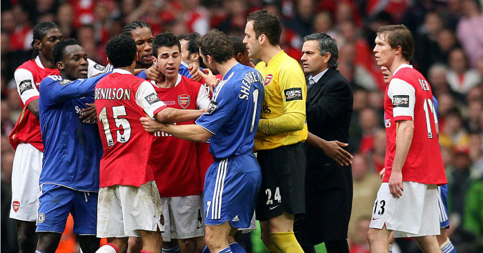 Brawl: Arsenal and Chelsea players in heated exchange
