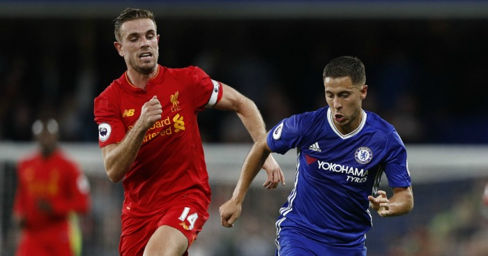 Jordan Henderson: Midfielder battles with Eden Hazard