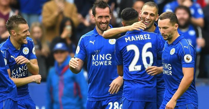 Leicester celebrate Islam Slimani