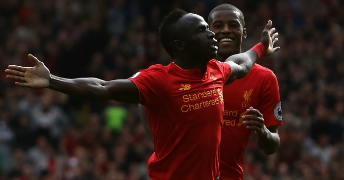 Sadio Mane: Celebrates Liverpool's third