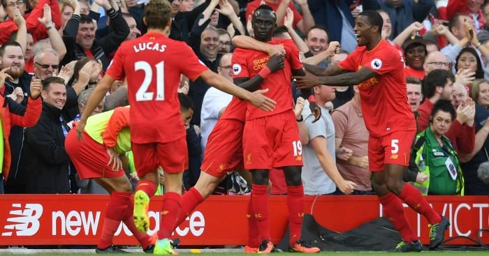 Sadio Mane: Celebrates scoring Liverpool's second goal