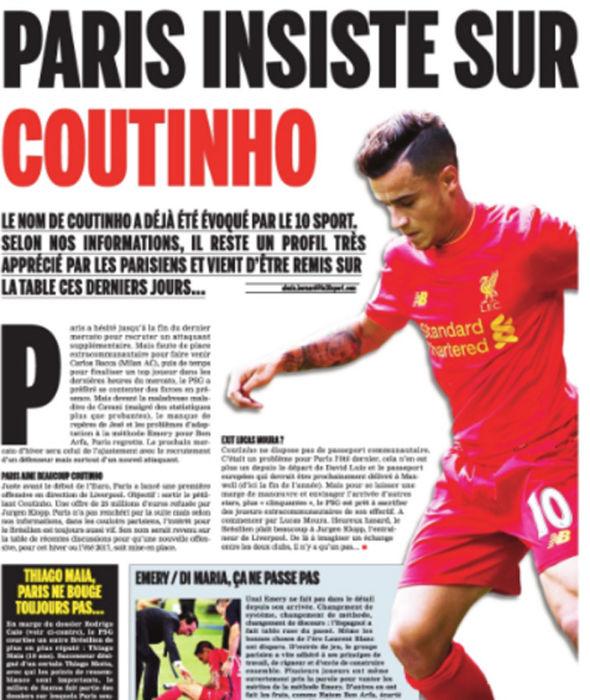 Le 10 Sport: Coutinho splash