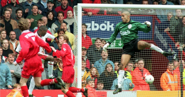 Andy Cole scores Liverpool v Man Utd 1996