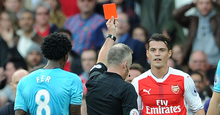 Granit Xhaka: Recipient of 'harsh' red card