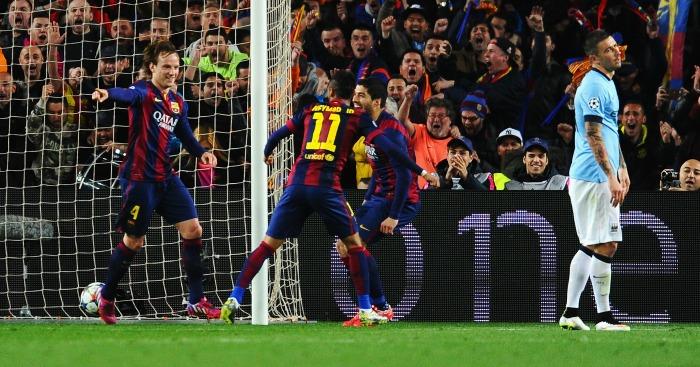 Ivan Rakitic: Midfielder celebrates scoring against City