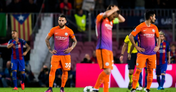 Nicolas Otamendi: Defender dejected after Barca goal