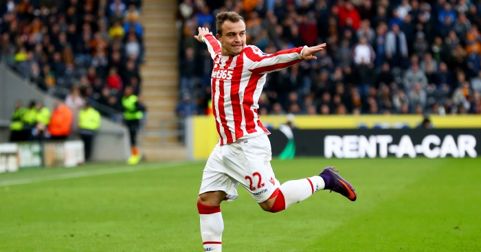 Xherdan Shaqiri: Winger celebrates against Hull