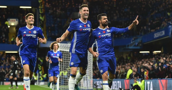 Diego Costa: Striker celebrates first-half goal