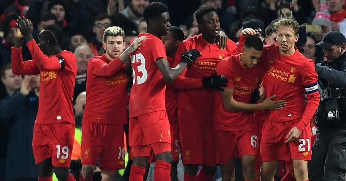 Divock Origi: Liverpool players celebrate opener
