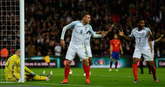 Jamie Vardy: Striker celebrates second-half header