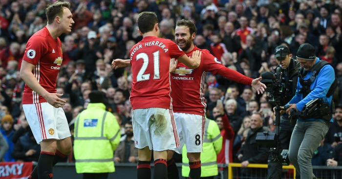 Juan Mata: Celebrates his goal with Ander Herrera