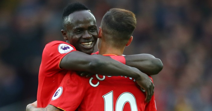 Sadio Mane: Celebrates with Philippe Coutinho