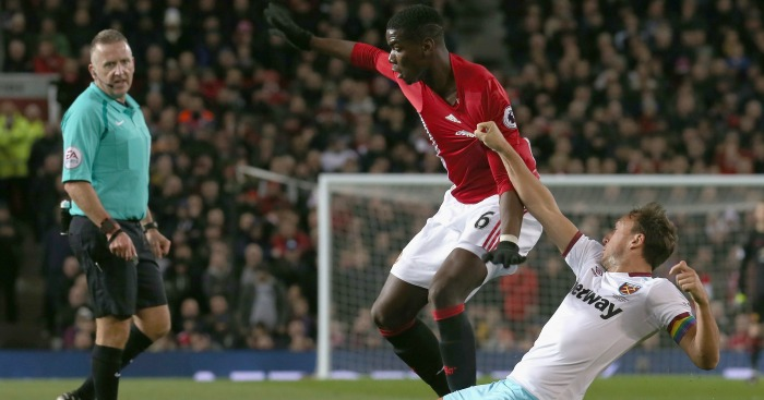 Paul Pogba: Tangles with Mark Noble.