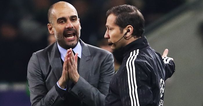 Pep Guardiola: Remonstrates with fourth official