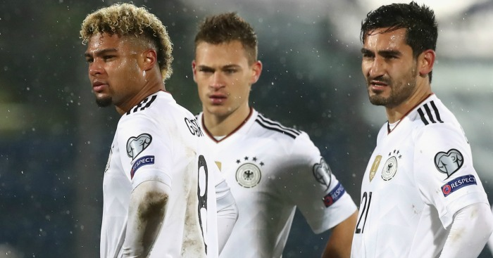 Serge Gnabry (l): Hit hat-trick on Germany debut