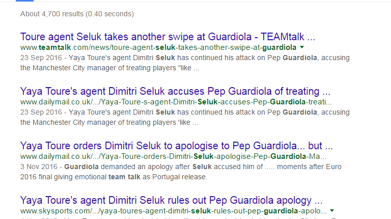 Yaya Toure agent row google search