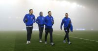 Brighton: AMEX Stadium shrouded in fog