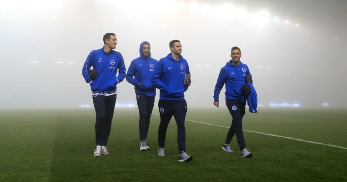 Brighton: AMEX Stadium shrouded in fog