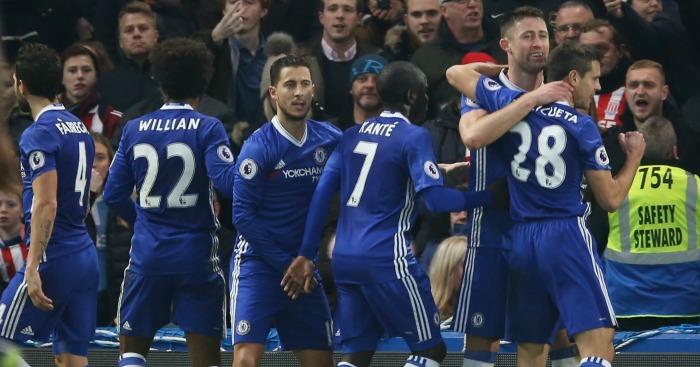 Gary Cahill: Celebrates Chelsea's opener