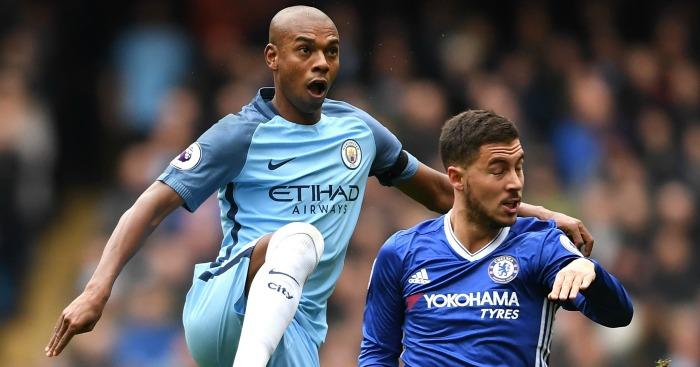 Fernandinho: Keeps a close eye on Eden Hazard