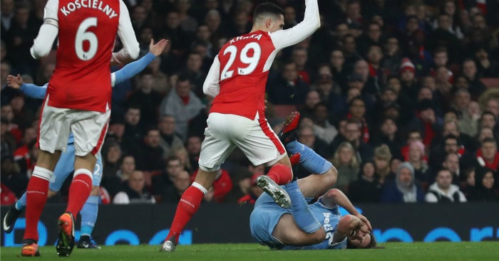Granit Xhaka: Reacts after fouling Joe Allen