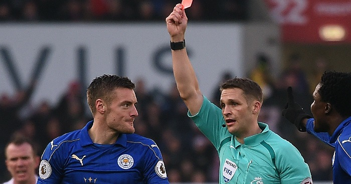 Jamie Vardy: Red carded by Pawson