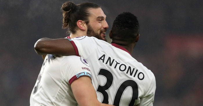Andy Carroll: Celebrates with Michail Antonio