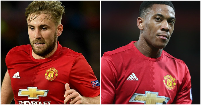 Shaw and Martial: To start against Wigan
