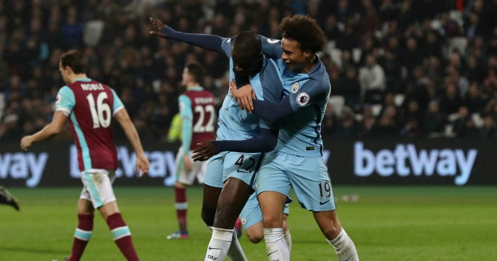 Leroy Sane and Yaya Toure: Celebrate at London Stadium