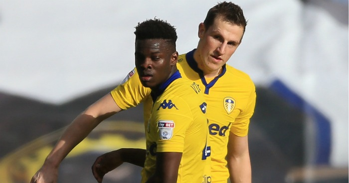 Chris Wood: Celebrates Leeds' equaliser with Ronaldo Vieira